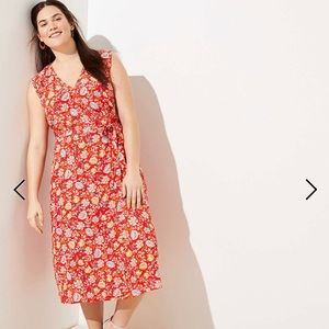 LOFT Plus Floral Ruffle Midi Wrap Dress NWT